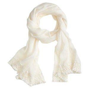 J. Crew | Linen-cotton crochet-trim scarf ivory